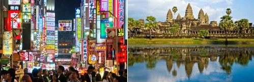 Tokyo, Japan and Angkor Wat in Cambodia