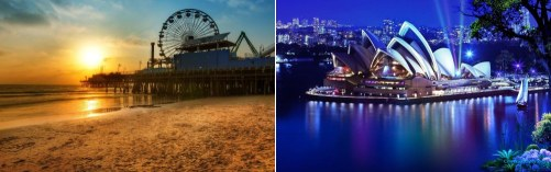 Sydney, Australia and Los Angeles, California
